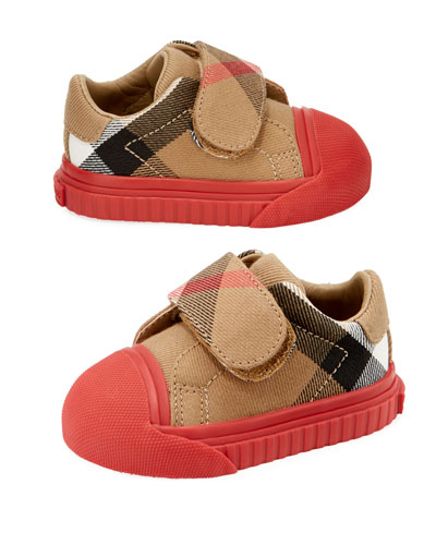 Beech Check Sneaker, Beige/Red, Infant/Toddler