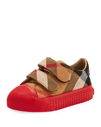 Belside Check Sneaker, Beige/Red, Youth