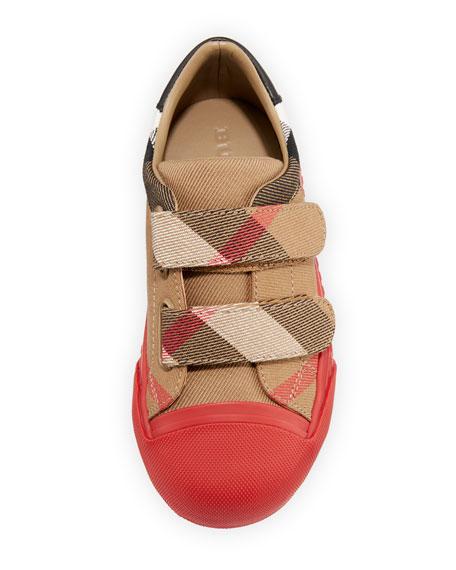 Belside Check Sneaker, Beige/Red, Youth