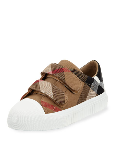 Belside Check Grip-Strap Sneaker, Youth