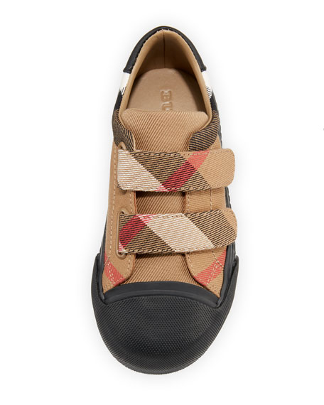 Belside Check Sneaker, Beige/Black, Youth