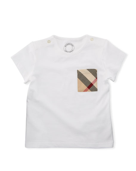 Burberry Cotton Check-Pocket Jersey Tee, White, Size 6M-3Y
