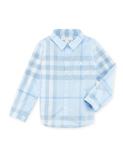 Trauls Pale Check Shirt, Blue, 3-24 Months