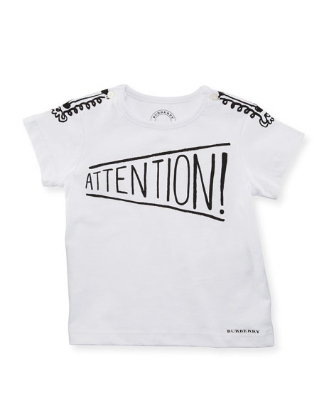 Burberry Attention Graphic Cotton Tee, White, Size 6M-3Y
