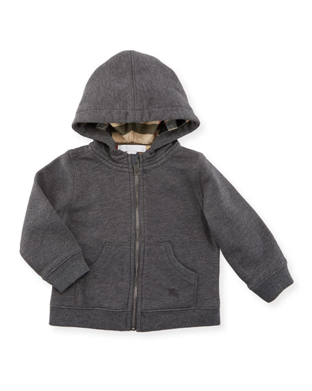 Burberry Pearce Hooded Fleece-Lined Sweater, Charcoal, Size 6M-3Y