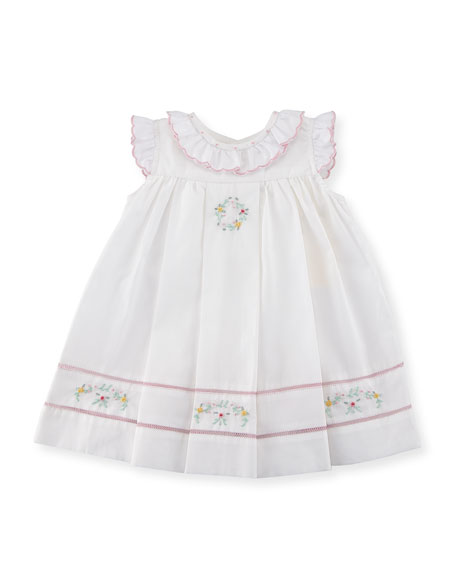 Floral-Embroidered Ruffle Dress, Size 3-24 Months