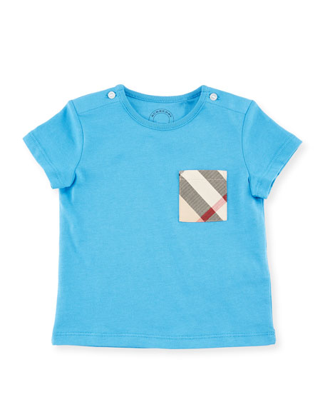Burberry Cotton Check-Pocket Jersey Tee, Blue, Size 6M-3Y