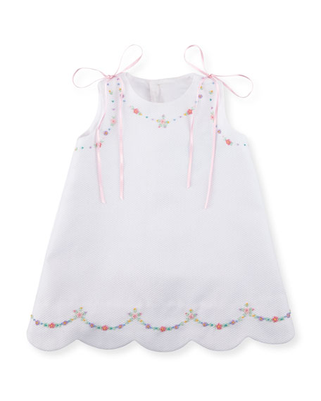 Pique Dress w/ Floral Embroidery, Size 2-3T