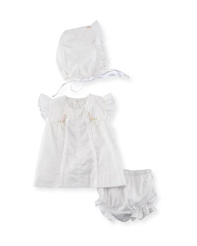 Cotton Dress Layette Set, Size Newborn-9M