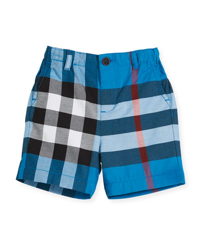 Sean Cotton Check Shorts, Blue, Size 6M-3Y