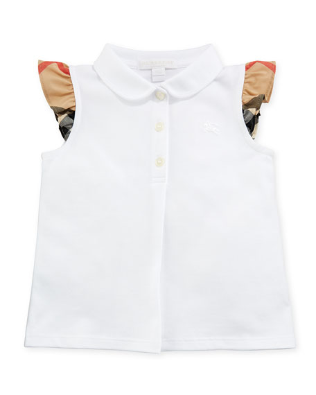 Burberry Tia Cotton-Stretch Polo Shirt w/ Ruffle Check
