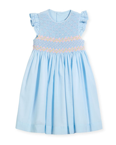 Smock Dress w/ Ruffle Sleeves, Size 4-6X