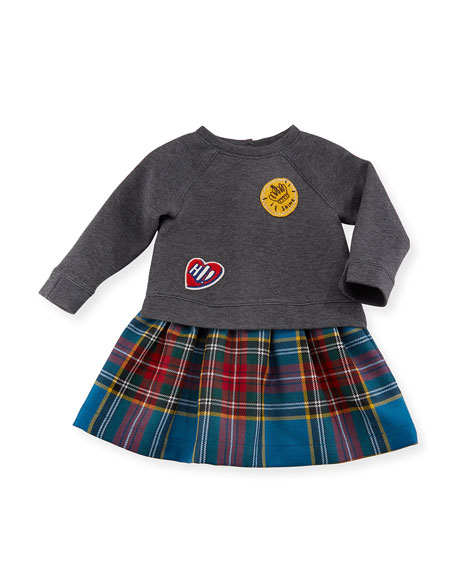 Burberry Francine Sweatshirt Check Dress, Size 6M-3Y