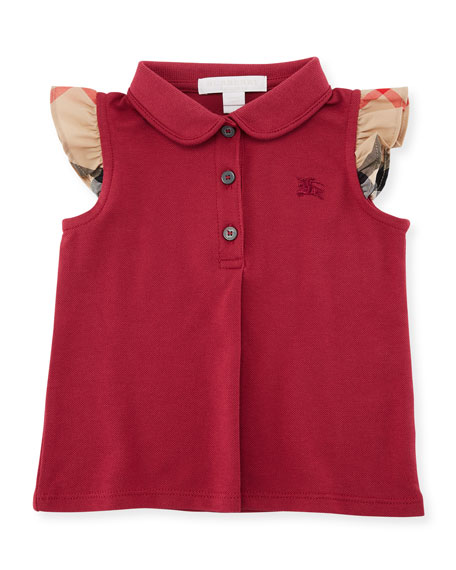 Tia Cotton-Stretch Polo Shirt w/ Ruffle Check Sleeves, Pink, Size 6M-3Y