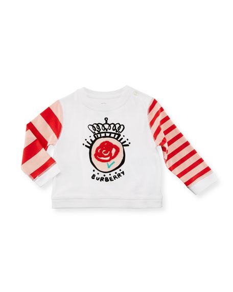 Rose Stripe-Sleeve Cotton Shirt, White, Size 6M-3Y