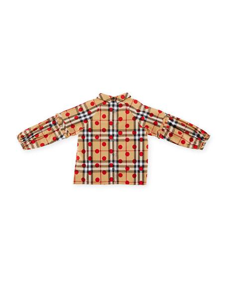 Haleena Check & Polka-Dot Long-Sleeve Blouse, Red, Size 6M-3Y