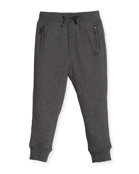 Burberry Phill Cotton Track Pants, Charcoal, Size 4-14