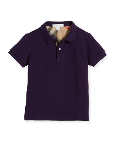 Boys' Cotton Polo, Purple, Size 4-14