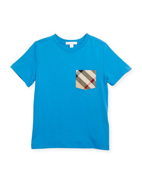 Check-Pocket Crewneck Short-Sleeve Tee, Size 4-14