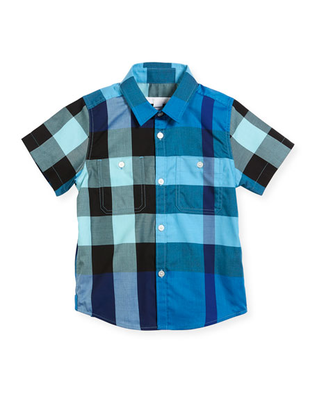 Mini Camber Short-Sleeve Check Shirt, Blue, Size 4-14
