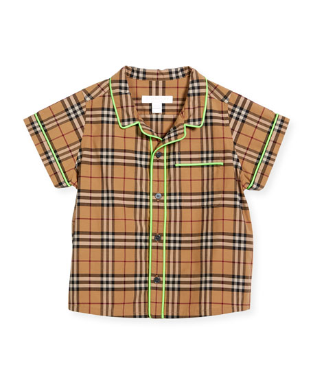 Carney Check Button-Down w/ Contrast Tipping, Beige, Size 4-14
