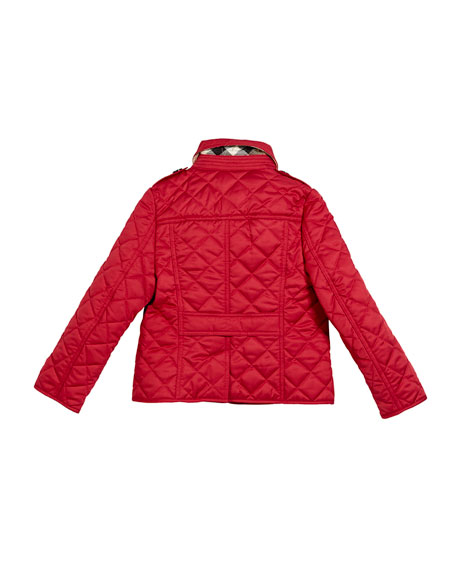 Ashurst Quilted Button-Front Jacket, Pink, Size 4-14