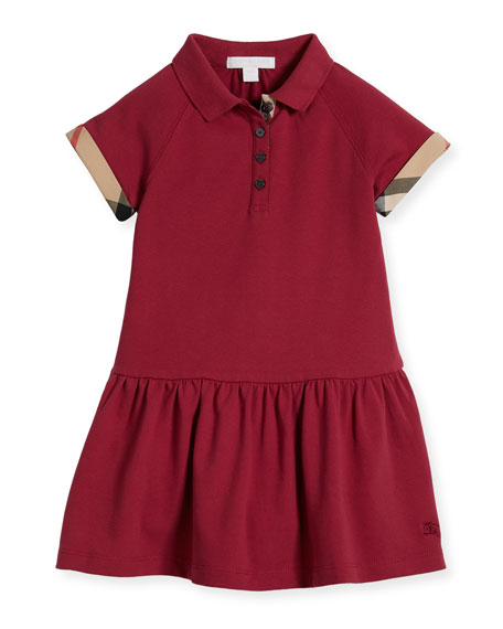 Burberry Cali Smocked Raglan Polo Dress, Pink, Size
