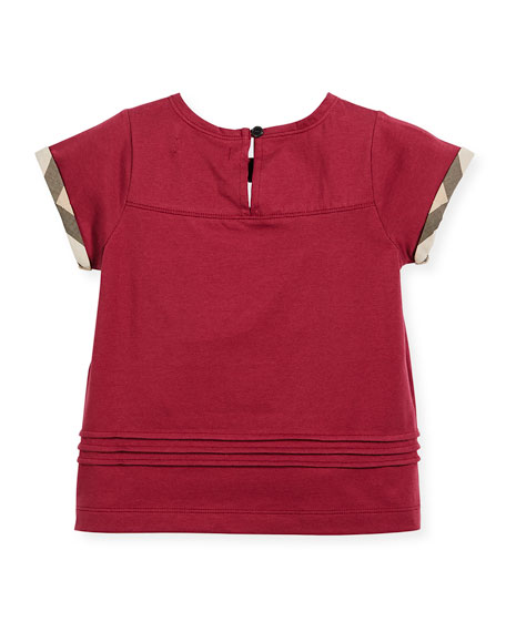 Gisselle Pintucked Jersey Tee, Pink, Size 4-14