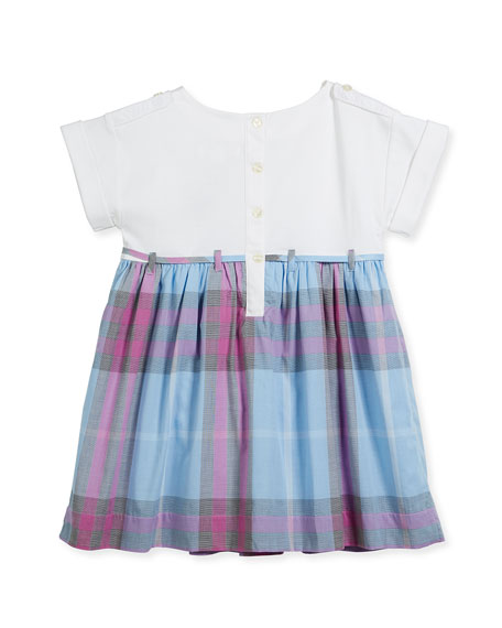 Rhonda Jersey & Check Poplin Dress, Blue, Size 4-14