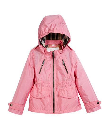Burberry Halle Hooded Jacket, Peony, Size 4-14
