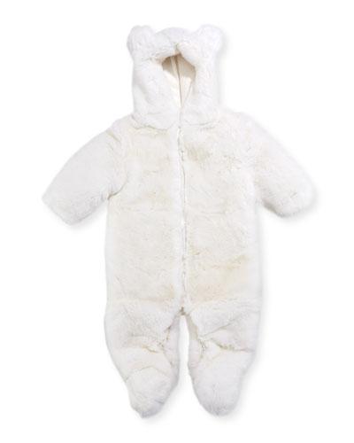 Hooded Fur Snowsuit, Size 3-12 Months