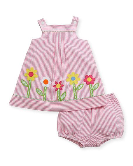 Striped Seersucker Flower-Border Dress w/ Bloomers, Size 3-24 Months