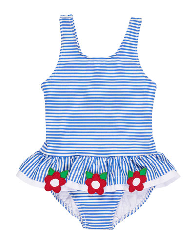 Stripe Seersucker Ruffle One-Piece Swimsuit w/ Flower Trim, Size 6-24 Months