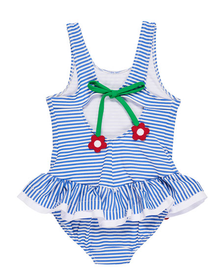 Stripe Seersucker Ruffle One-Piece Swimsuit w/ Flower Trim, Size 2-6X