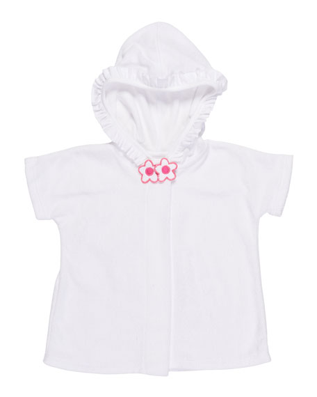 Knitted Terry Cloth Hooded Swim Coverup,White/Pink, Size 6-24 Months