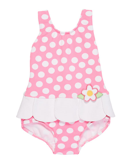 Petal-Skirt Polka-Dot One-Piece Swimsuit, Size 6-24 Months