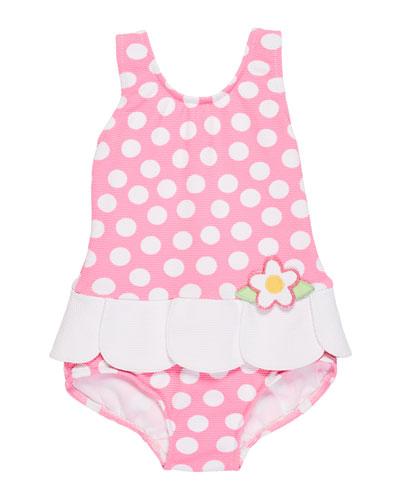 Polka Dot Waffle Swimsuit, Size 2-4