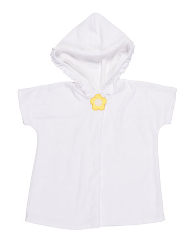 Knitted Terry Cloth Hooded Swim Coverup, White/Yellow, Size 2-6X