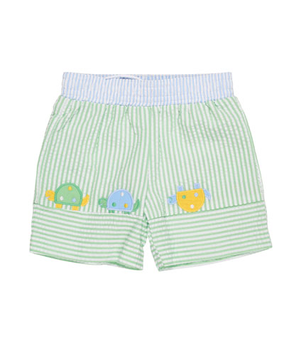 Stripe Seersucker Turtle Swim Trunks, Size 6-24 Months