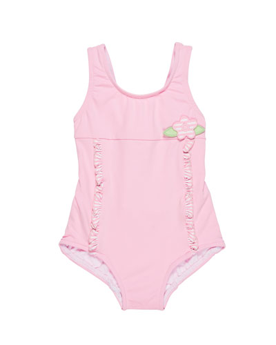 Solid One-Piece Swimsuit w/ Stripe Ruffle Trim, Size 6-24 Months
