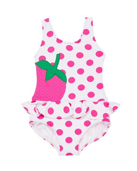 Polka-Dot Ruffle Strawberry One-Piece Swimsuit, Size 2-6X