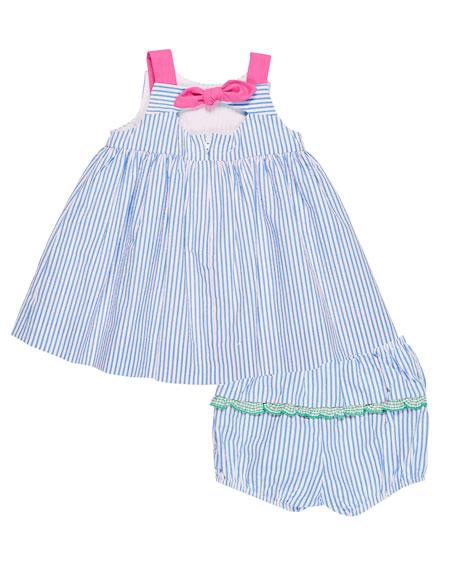 Seersucker Watermelon Dress w/ Bloomers, Size 3-24 Months
