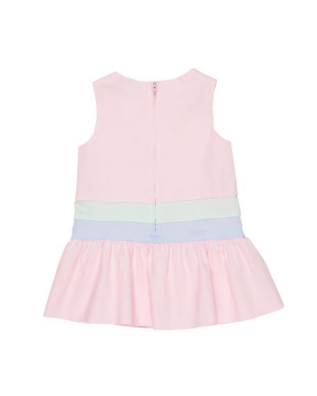 Colorblock Fine-Wale Pique Dress w/ Flower Trim, Size 2-4