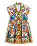 Dolce & Gabbana Maiolica-Print Poplin Dress, Size 2-6