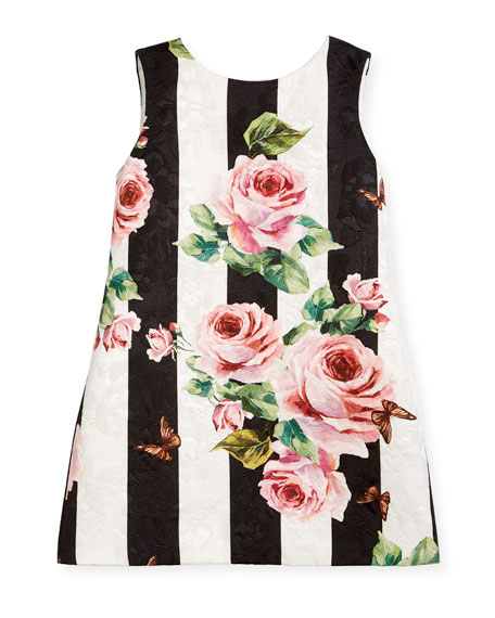 Striped Rose Brocade Dress, Size 8-12