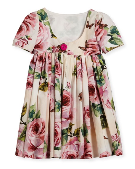 Short-Sleeve Cotton Rose Dress, Size 2-6