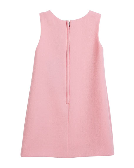 Sleeveless Crepe Dress w/ Sequin Logo, Size 4-6