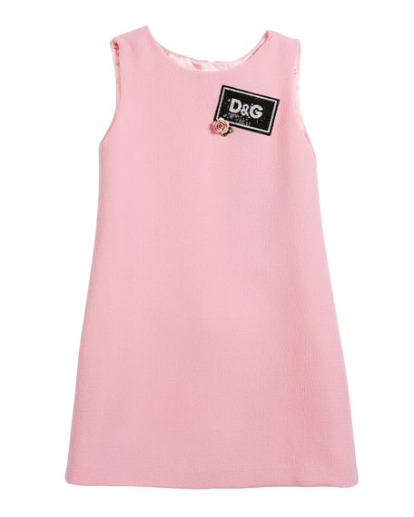 Sleeveless Crepe Dress w/ Sequin Logo, Size 4-6