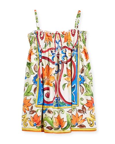 Maiolica-Print Smocked Sundress, Size 2-6