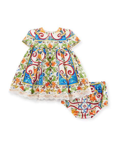 Dolce & Gabbana Maiolica-Print Poplin Dress w/ Bloomers,